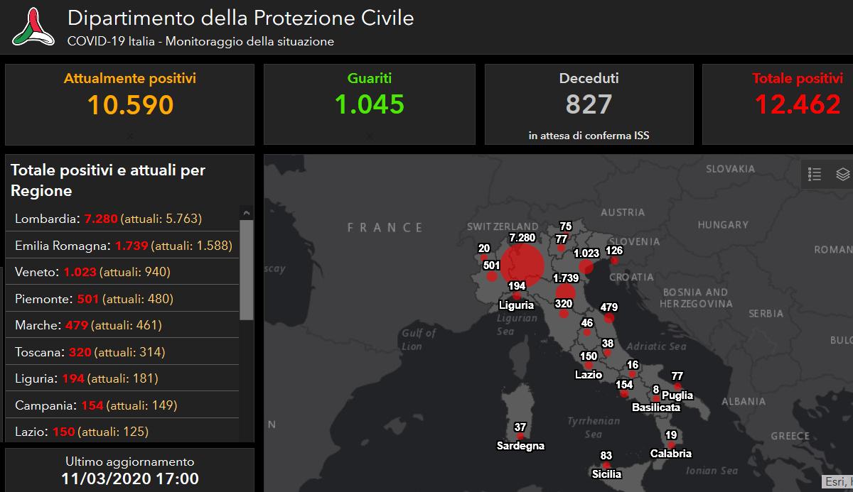 coronavirus italia protezione civile 11 marzo